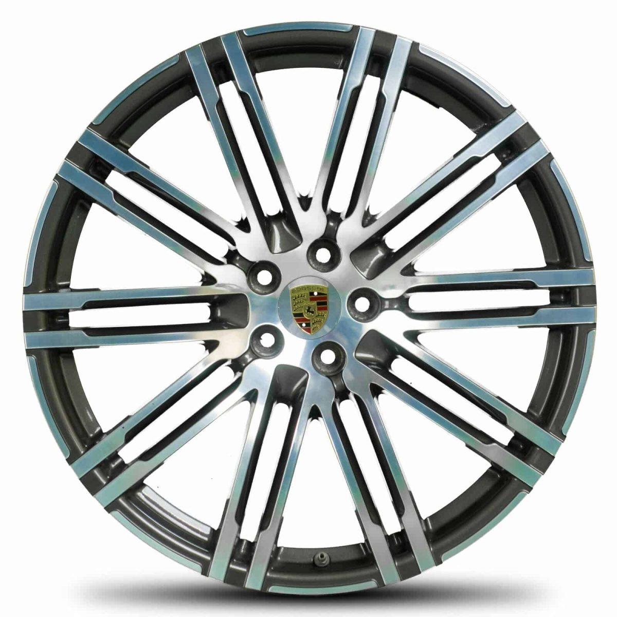 "Genuine Porsche Macan 95B Turbo Design 21"" inch Alloy Wheels with Gloss Black & Diamond Turned Finish 95B601025AT041 95B601025BA041"