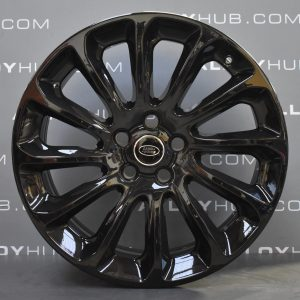 """Genuine Land Rover Range Rover Style 1065 20"""" inch 12 Spoke Alloy Wheels with Gloss Black Finish LR098796"""