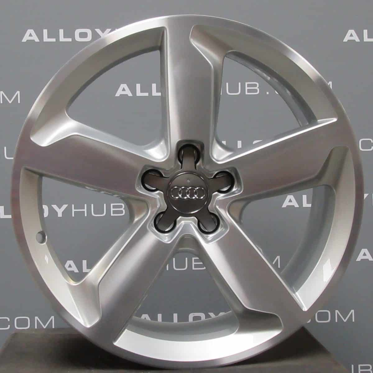 "Genuine Audi Q5 8R 5 Spoke 19"" Inch Alloy Wheels with Silver & Diamond Turned Finish 8R0 601 025 J"