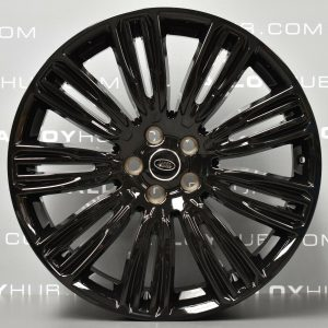 "Genuine Land Rover Range Rover 22"" inch Style 9012 9 Split-Spoke Alloy Wheels with Gloss Black Finish LR099147"