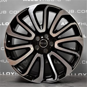 """Genuine Land Rover Range Rover 22"""" inch Style 16 7007 Alloy Wheels with Gloss Black & Diamond Turned Finish LR039141"""
