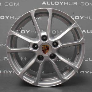 "Genuine Porsche Cayenne 958 5 Twin Spoke 18"" Inch Alloy Wheels with Silver Finish 7P5.601.25.AB"
