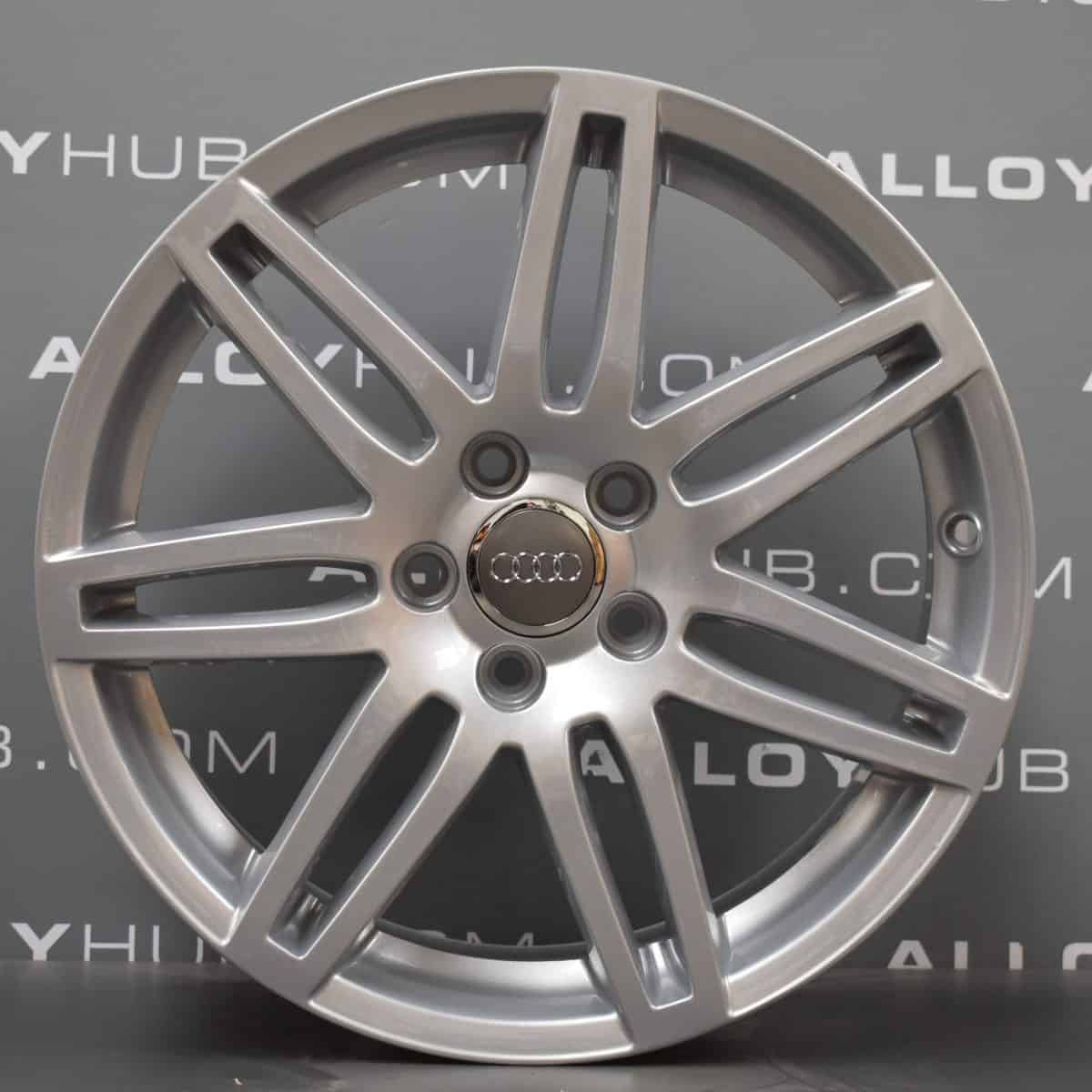 Genuine Audi A3 8P 7 Double Spoke S-Line Black Edition 18″ Inch Alloy Wheels with Silver Finish 8P0 601 025 BC