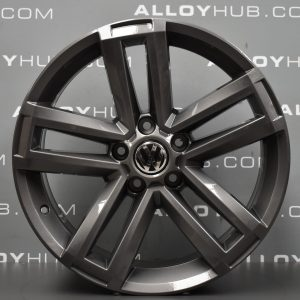 "Genuine Volkswagen Amarok Cantera 5 Twin Spoke 19"" Inch Alloy Wheel with Anthracite Grey Finish 2H0 601 025 AD"