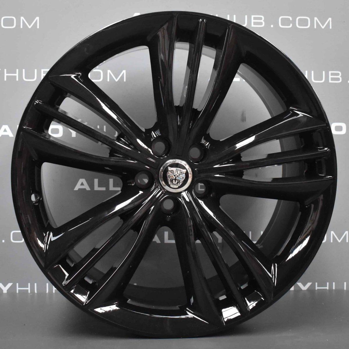"Genuine Jaguar XJ X351 Mataiva 5 Split-Spoke 20"" Inch Alloy Wheels with Gloss Black Finish AW9M-1007-AA AW9M-1007-BA"