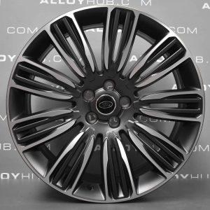 "Genuine Land Rover Range Rover 22"" inch Style 9012 9 Split-Spoke Alloy Wheels with Grey & Diamond Turned Finish LR099146"