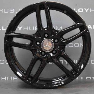 "Genuine Mercedes-Benz A/B Class W176 W246 18"" Inch AMG 5 Twin Spoke Alloy Wheels with Gloss Black Finish A1764010700"