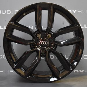 """Genuine Audi S3 RS3 A3 8V 5 Twin Spoke 18"""" Inch Alloy Wheels with Gloss Black Finish 8V0 601 025 M"""