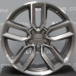 """Genuine Audi S3 RS3 A3 8V 5 Twin Spoke 18"""" Inch Alloy Wheels with Grey & Diamond Turned Finish 8V0 601 025 M"""