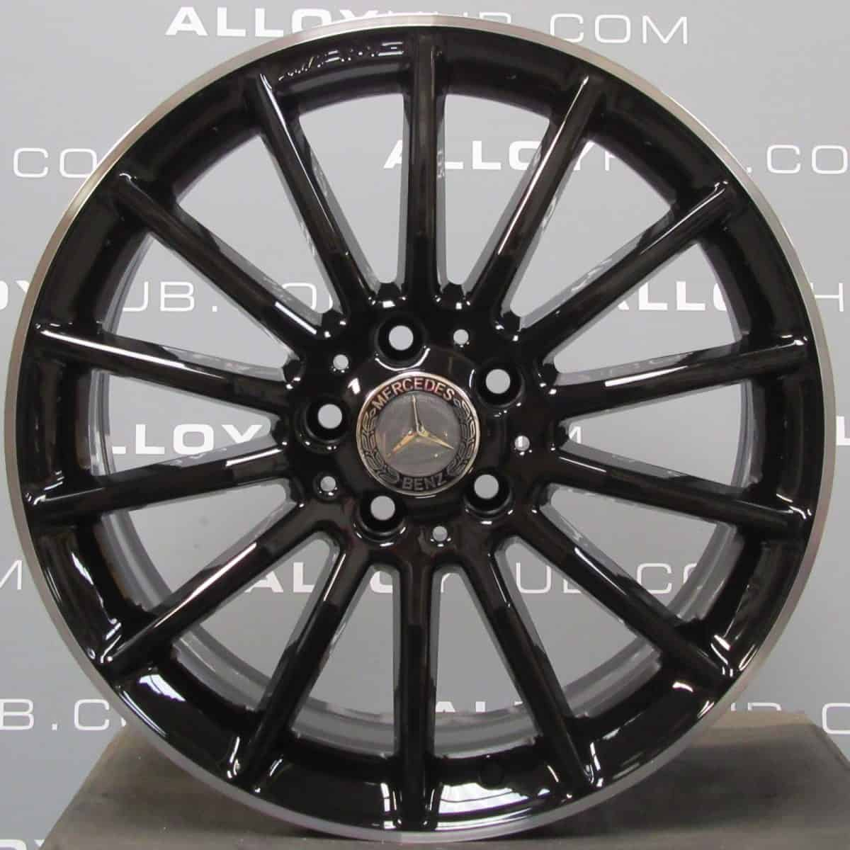 "Genuine Mercedes-Benz A/B Class W176 W246 18"" Inch AMG 16 Spoke Alloy Wheels with Gloss Black & Diamond Turned Finish A1764010200"