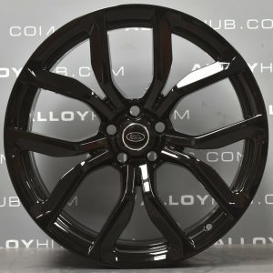 "Genuine Land Rover Range Rover Sport SVR L494 Style 5083 5 Split-Spoke 22"" inch Alloy Wheels with Gloss Black Finish JK6M-1007-AA"