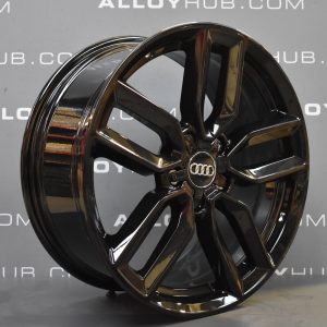 """Genuine Audi S3 RS3 A3 8P 5 Twin Spoke 18"""" Inch Alloy Wheels with Gloss Black Finish 8V0 601 025 M"""