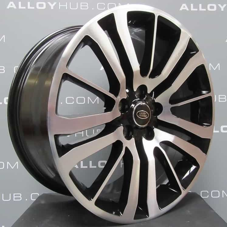 """Genuine Land Rover Range Rover HST Style 3 15 Spoke 20"""" Inch Alloy Wheels with Gloss Black & Diamond Turned Finish LR008549"""