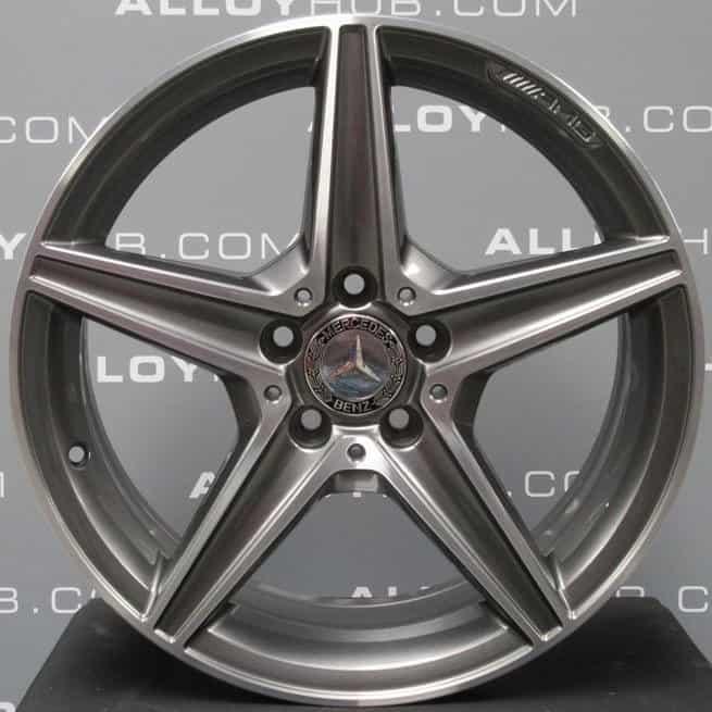 "Genuine Mercedes-Benz C-Class W205 AMG 5 Spoke 18"" inch Alloy Wheels with Grey & Diamond Turned Finish A2054011100 A2054011200"