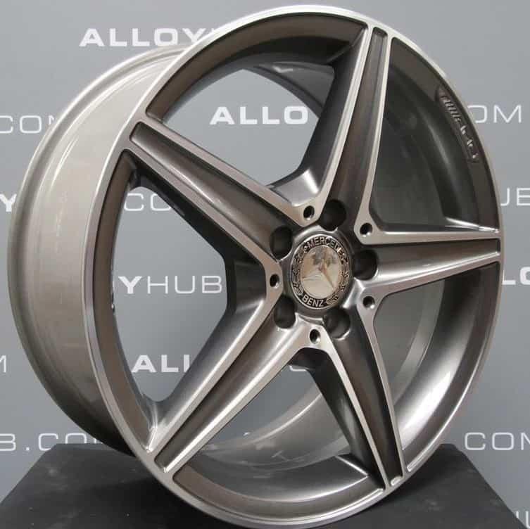 """Genuine Mercedes-Benz C-Class W205 AMG 5 Spoke 18"""" Grey & Polished Alloy Wheels A2054011100 A2054011200"""