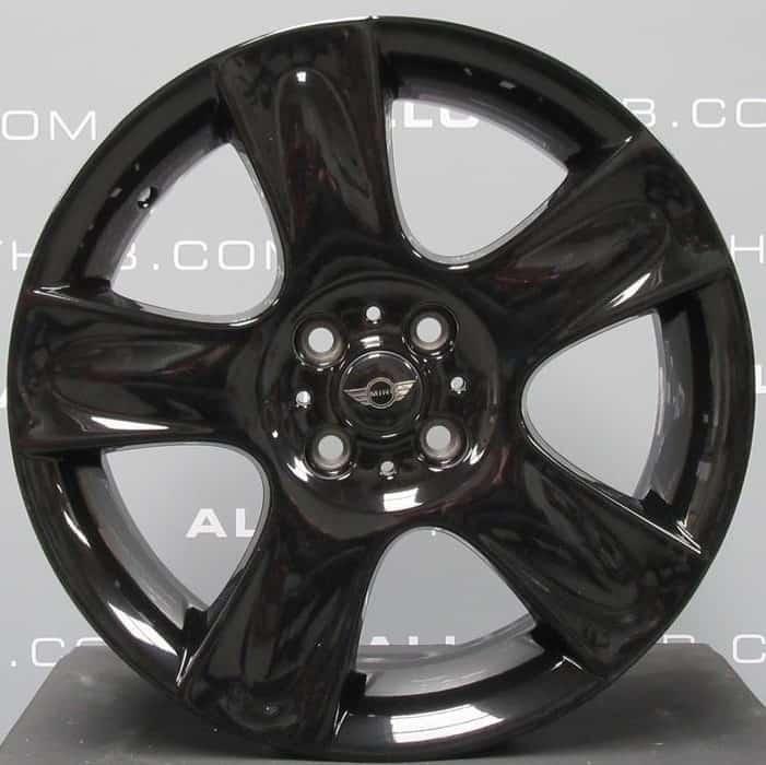 "Genuine Mini Cooper S R50 R53 R56 R111 Star Bullet Spoke 17"" inch Alloy Wheels with Gloss Black Finish 36116763299"