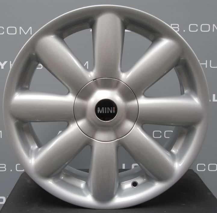 "Genuine Mini Cooper S R50 R53 R56 R104 Crown Spoke 17"" inch Alloy Wheels with Silver Finish 36116769411"