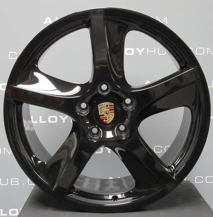 "Genuine Porsche Cayenne 955 957 Sport Techno 5 Twist Spoke 20"" inch Alloy Wheels with Gloss Black Finish 7L5601025K 7L5601025Q"