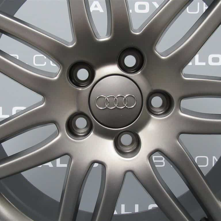Genuine Audi A3 8P 7 Double Spoke S-Line Black Edition 18″ Inch Alloy Wheels With Satin Grey Finish 8P0 601 025 BC 8AU