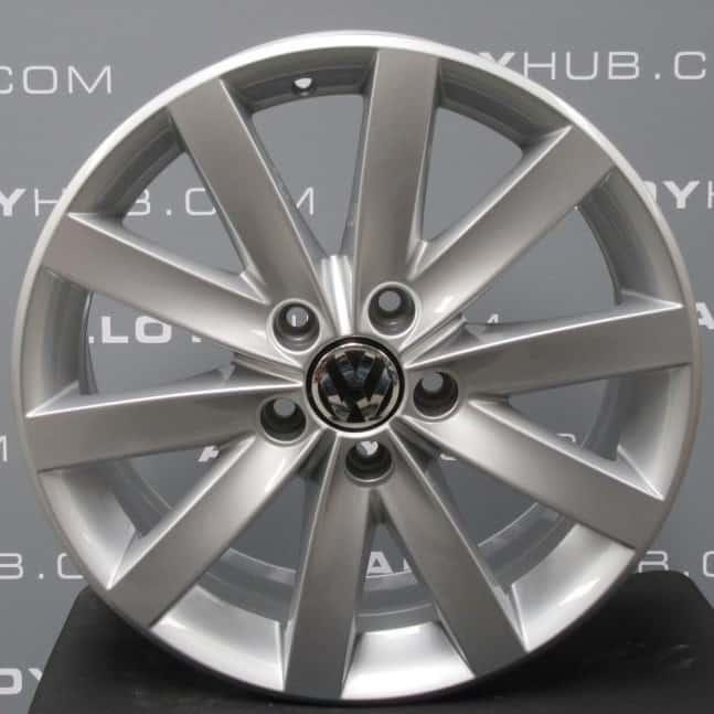 "Genuine Volkswagen Golf MK6 Porto 17"" inch 10 Spoke Alloy Wheels with Silver Finish 5K0 601 025 F"