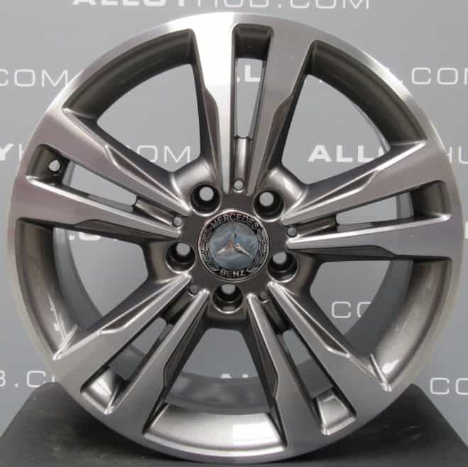 """Genuine Mercedes-Benz E CLASS 17"""" inch 5 Twin Spoke Alloy Wheels with Grey & Diamond Turned Finish A2124015602"""