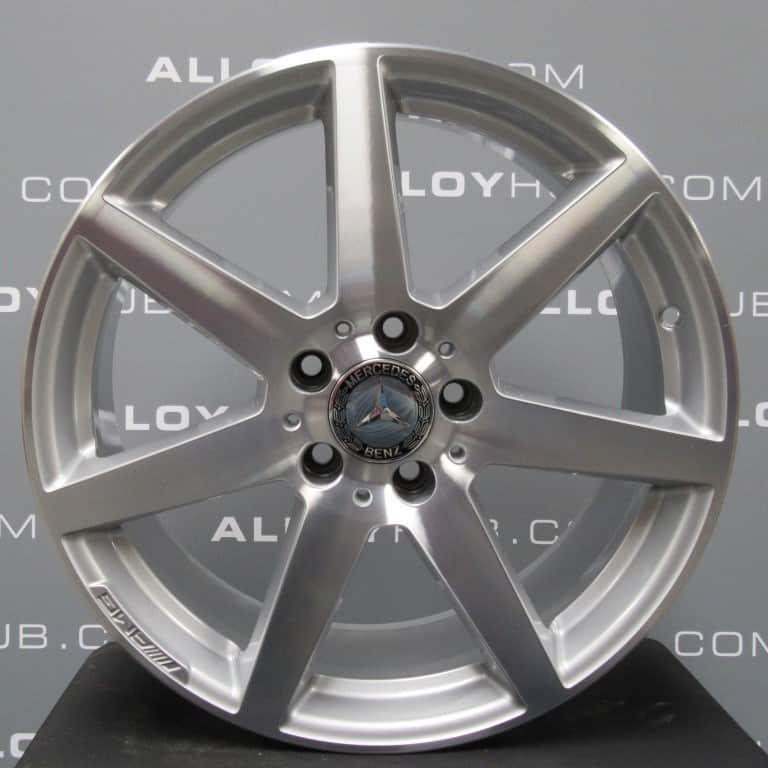 """Genuine Mercedes-Benz C-Class AMG W204 7 Spoke 18"""" inch Alloy Wheels with Silver & Diamond Turned Finish A2044019802 A2044019902"""
