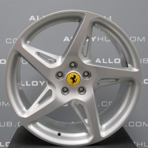 """Genuine Ferrari 458 Italia Spider 5 Cross Spoke 20"""" inch Alloy Wheels with Silver Finish 282332 282333"""