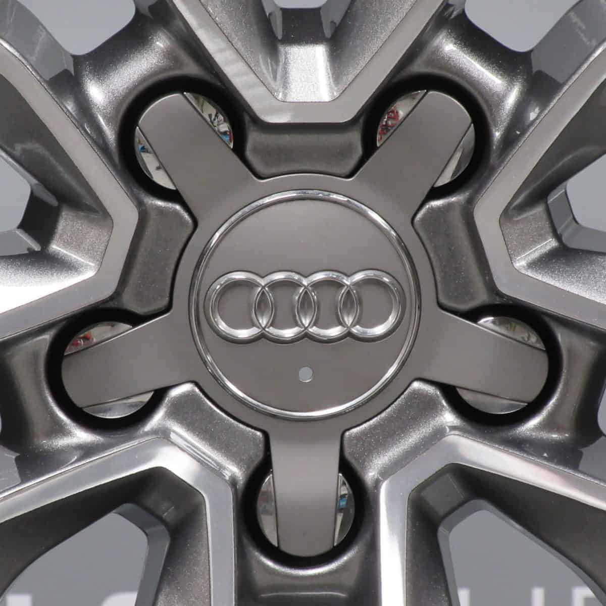 """Genuine Audi S3 RS3 A3 8P 5 Twin Spoke 18"""" Inch Alloy Wheels with Grey & Diamond Turned Finish 8V0 601 025 M"""