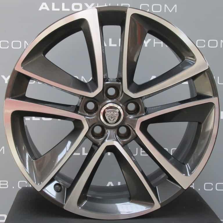 "Genuine Jaguar F-Type Volution Style 5058 5 Twin Spoke 19"" inch Alloy Wheels with Grey & Diamond Turned Finish GX53-1007-CA GX53-1007-BA"