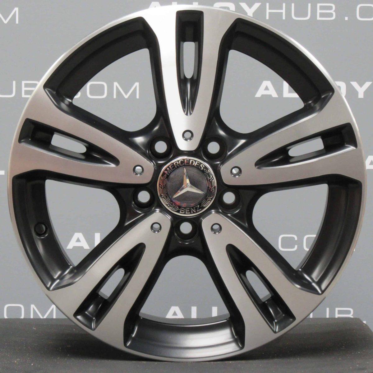 "Genuine Mercedes-Benz CLA C117 16"" inch 5 Twin Spoke Alloy Wheels with Black & Diamond Turned Finish A2464010000"