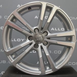 """Genuine Audi A3 Saloon 8V S-Line Black Edition 5 Twin Spoke 18"""" Inch Alloy Wheels with Silver & Diamond Turned Finish 8V0 601 025 BC"""