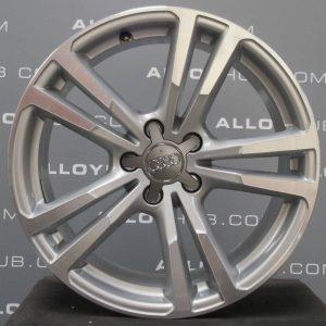 "Genuine Audi A3 Hatchback/Sportback 8V S-Line Black Edition 5 Twin Spoke 18"" Inch Alloy Wheels with Silver & Diamond Turned Finish 8V0 601 025 BL / 8V0 601 025 AJ"