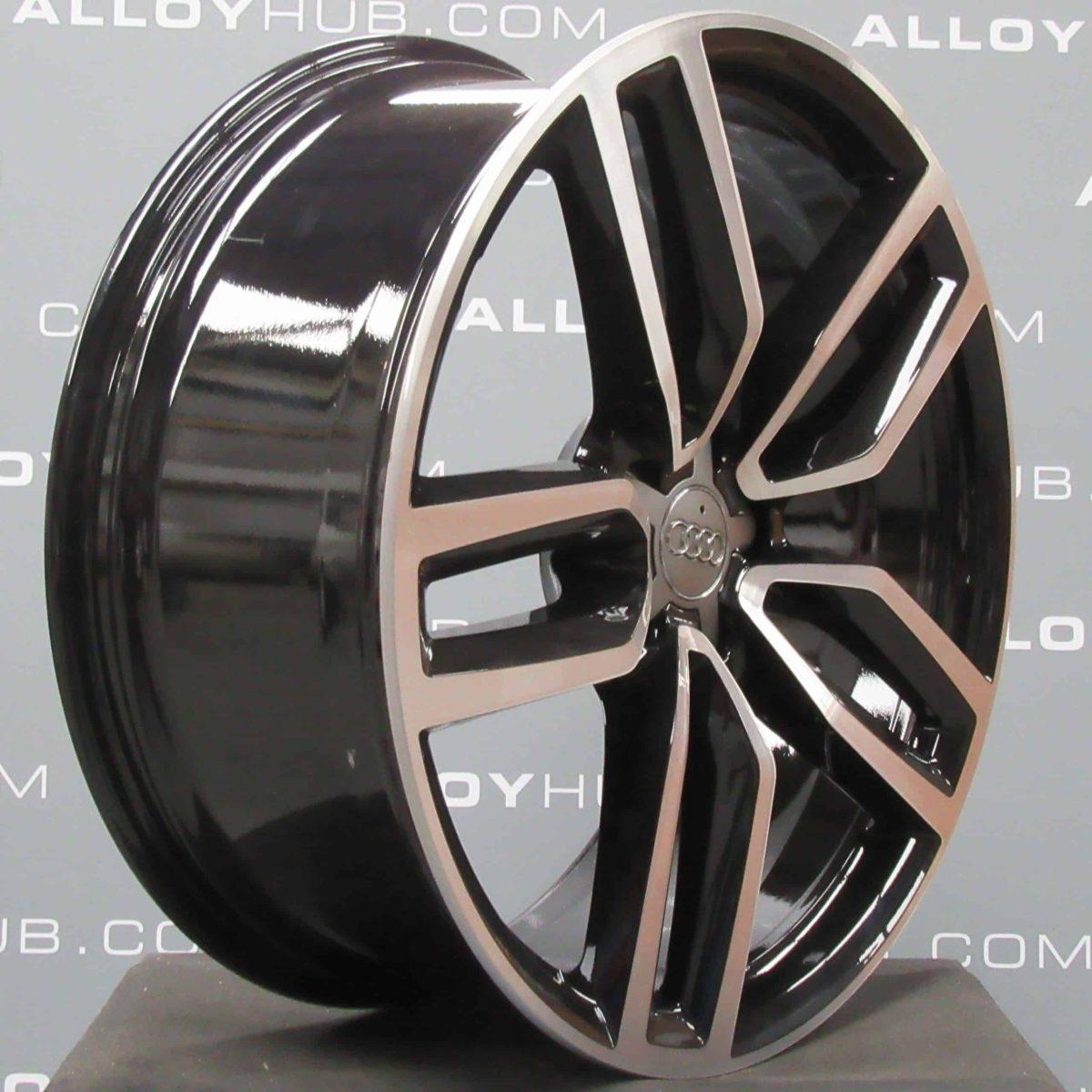 "Genuine Audi Q5 SQ5 8R 5 Twin Spoke 21"" Inch Alloy Wheels with Gloss Black & Diamond Turned Finish 8R0 601 025 CP"
