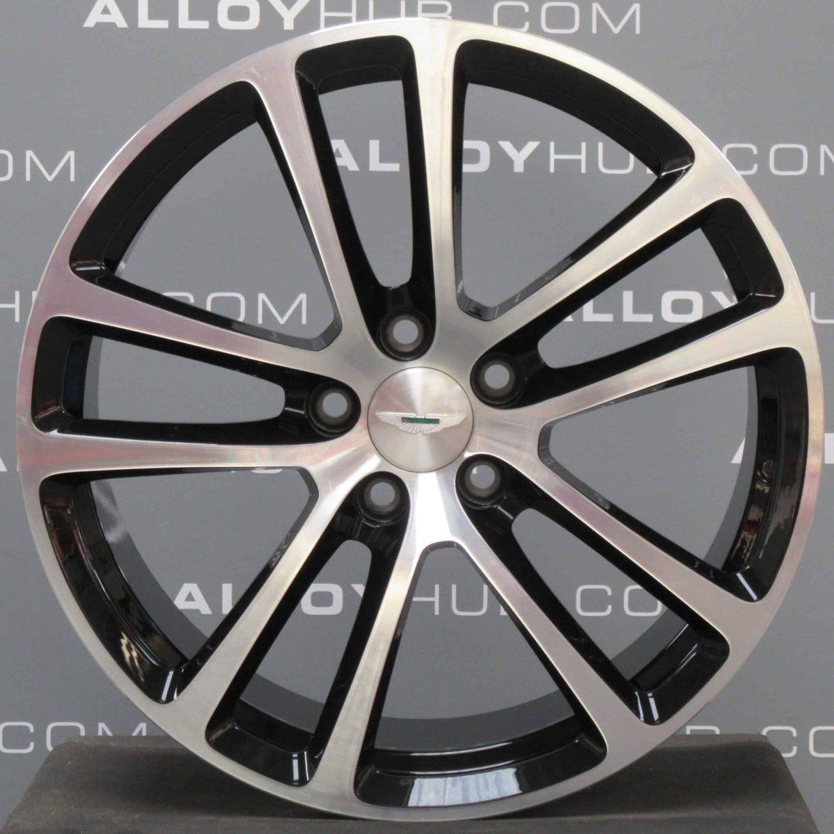 "Genuine Aston Martin DB9 5 Twin Spoke Forged 19"" Inch Alloy Wheels with Black & Diamond Turned Finish AG43-1007-JA, AG43-1007-KA"