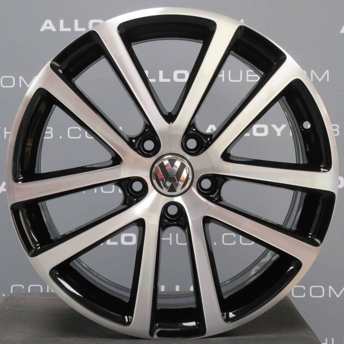 "Genuine Volkswagen Golf MK6 Charleston 5 Twin Spoke 18"" inch Alloy Wheels with Gloss Black & Diamond Turned Finish 1K0 601 025 AG"