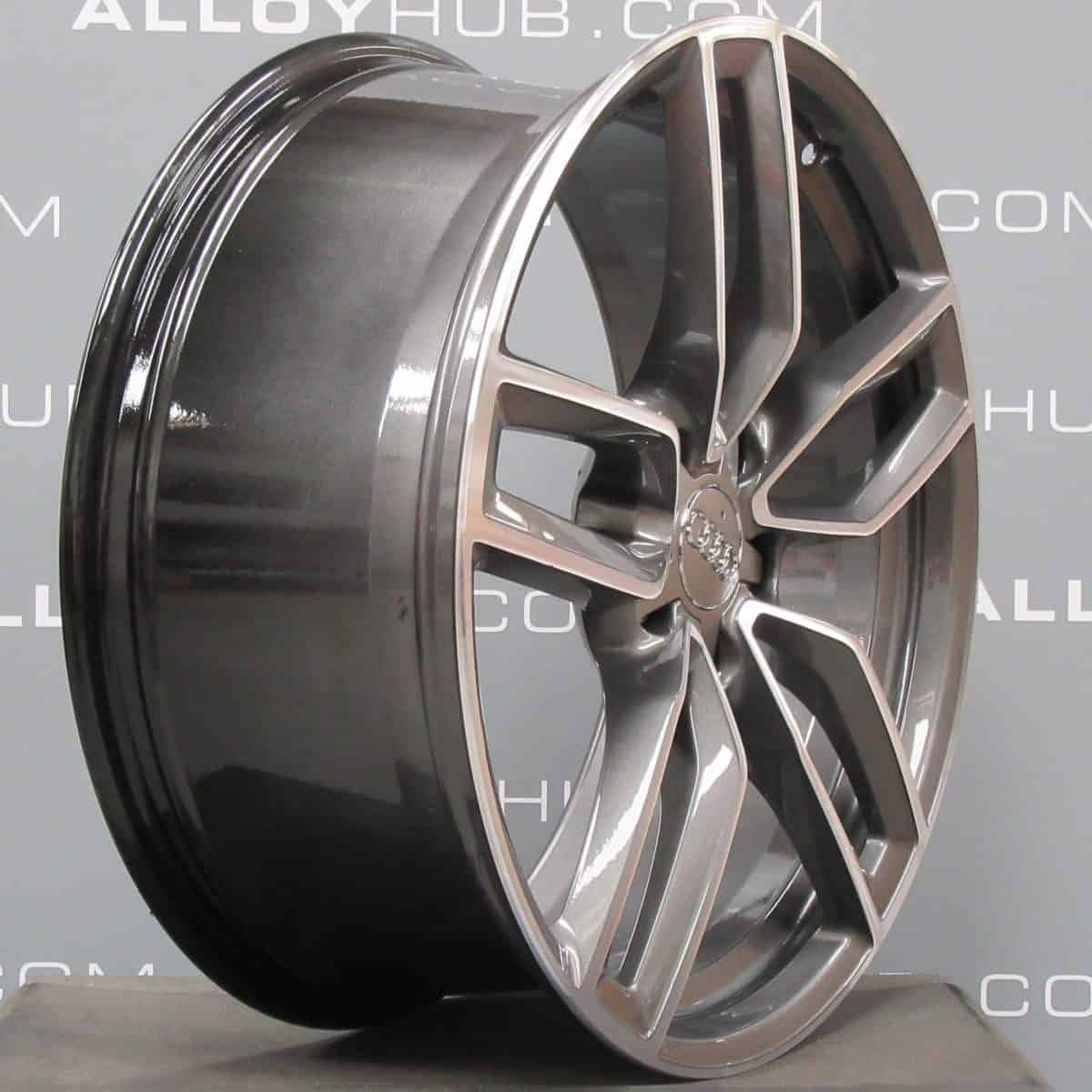 """Genuine Audi RS3 S3 A3 8V 5 Twin Spoke 19"""" Inch Alloy Wheels with Grey & Diamond Turned Finish 8V0 601 025 AB"""