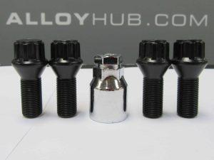 BMW Black Locking Security Alloy Wheel Bolts/Nut Set (X4)