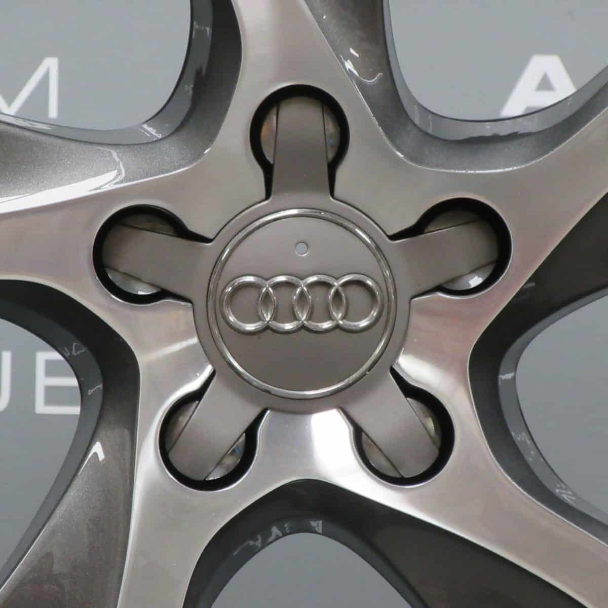"Genuine Audi A3 S3 RS3 8V 5 Twist Spoke 18"" Inch Alloy Wheels With Grey & Diamond Turned Finish 8V0 601 025 CC"