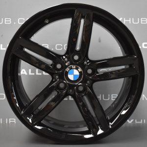 "Genuine BMW 1 Series 208M Sport 5 Twin Spoke 18"" Inch Alloy Wheels with Gloss Black 36118036939 36117839305"
