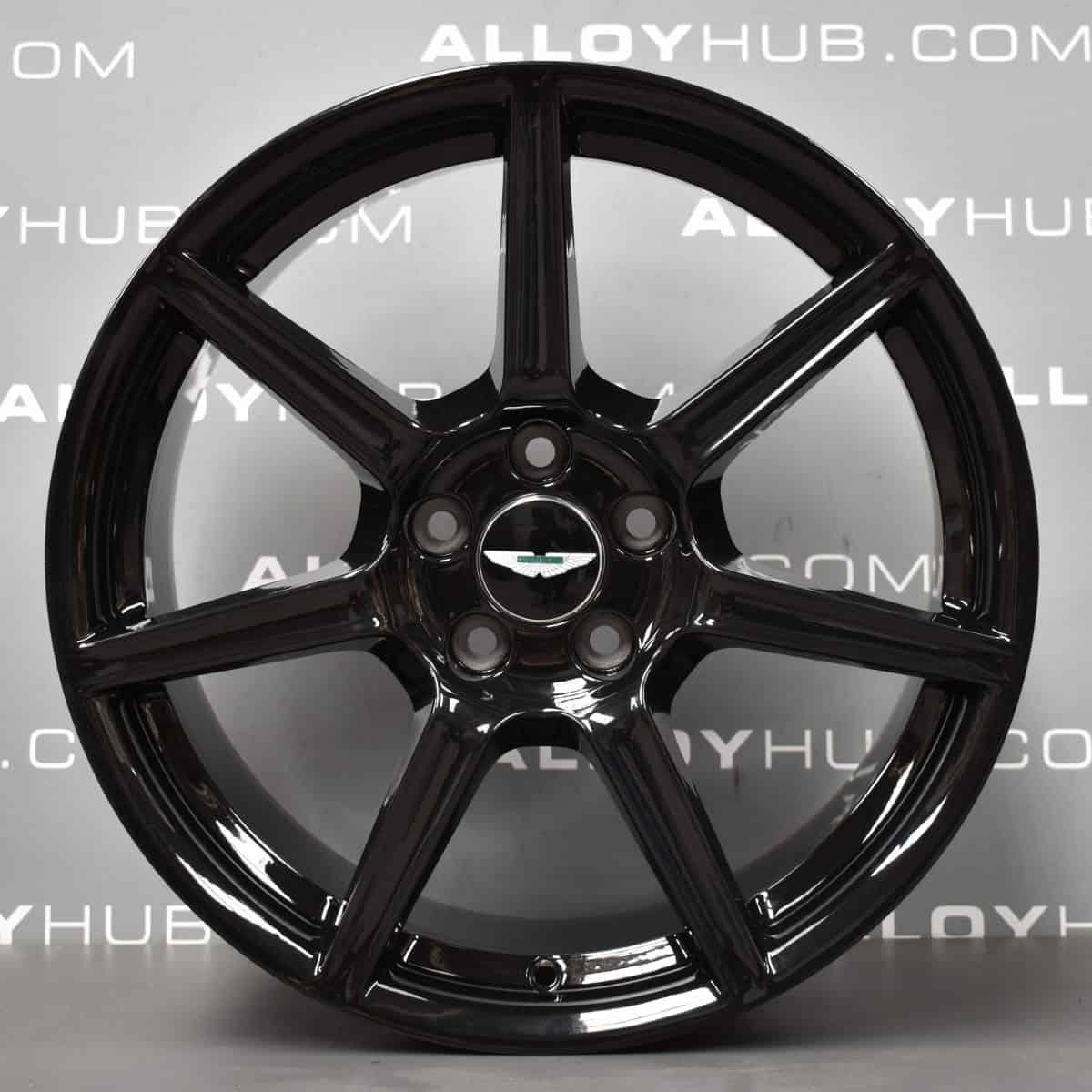 "Genuine Aston Martin Vantage 7 Spoke 19"" Inch Alloy Wheels with Gloss Black Finish 6G33-1007-FA, 6G33-1007-FB"