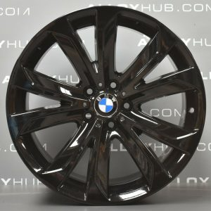 Genuine BMW X5 X6 F15 F16 Style 491M Sport 20″ inch 5 Twin Spoke Alloy Wheels with Gloss Black Finish 36116858527 36116858528