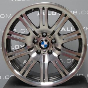 "Genuine BMW M3 E46 Style 67M Sport 10 Double Spoke 19"" inch Alloy Wheels with Grey & Diamond Turned Finish 36112229650 36112229660"