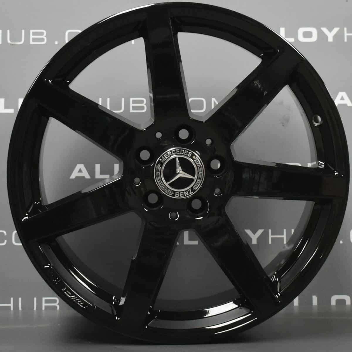 """Genuine Mercedes-Benz C-Class AMG W204 7 Spoke 18"""" inch Alloy Wheels with Gloss Black Finish A2044019802 A2044019902"""
