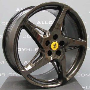 """Genuine Ferrari 458 Italia Spider 5 Cross Spoke 20"""" inch Alloy Wheels with Carbon Fibre Weave Finish 282332 282333"""