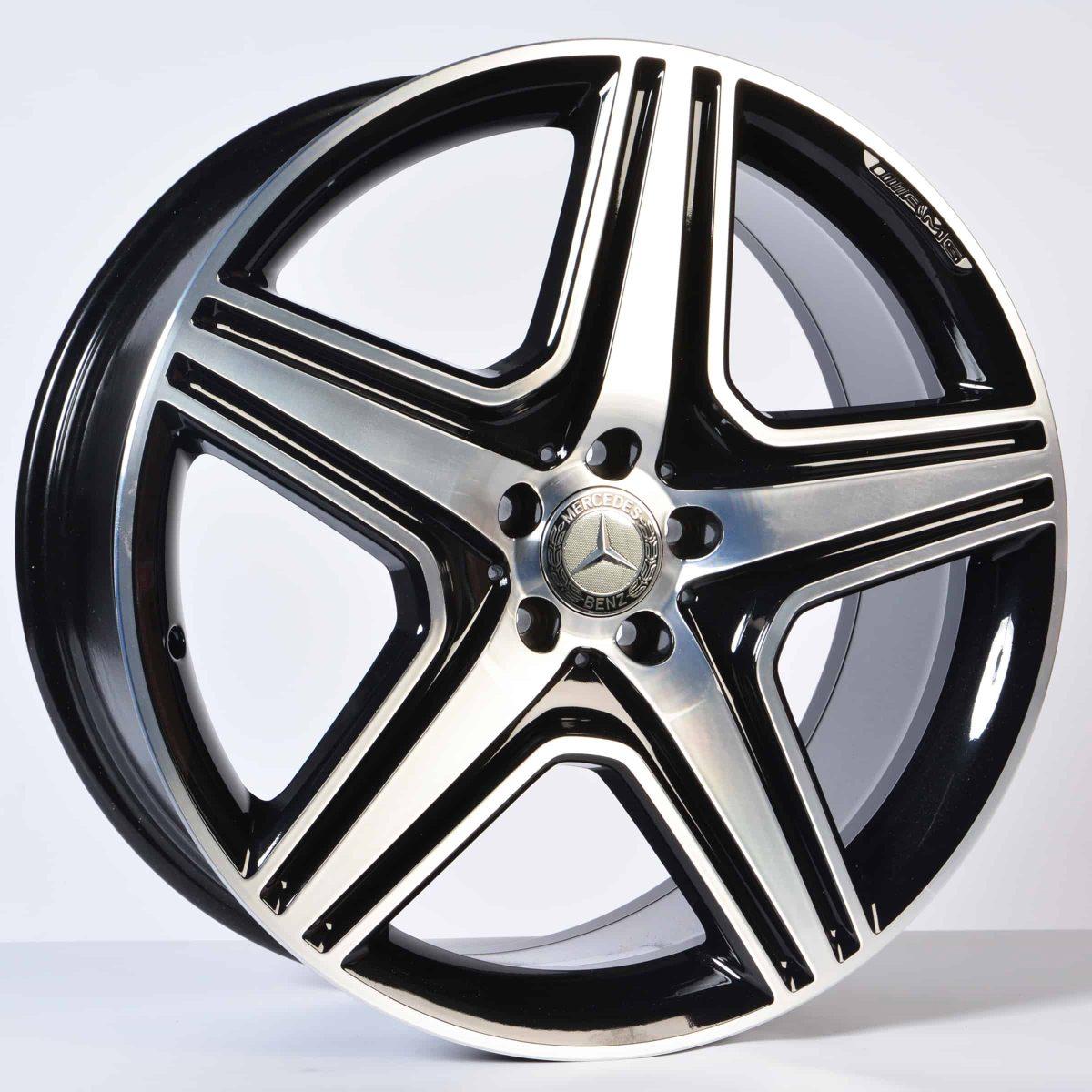 "Genuine Mercedes-Benz ML GLE W166 AMG 21"" inch Star Spoke Alloy Wheels with Gloss Black & Diamond Turned Finish A1644015302"