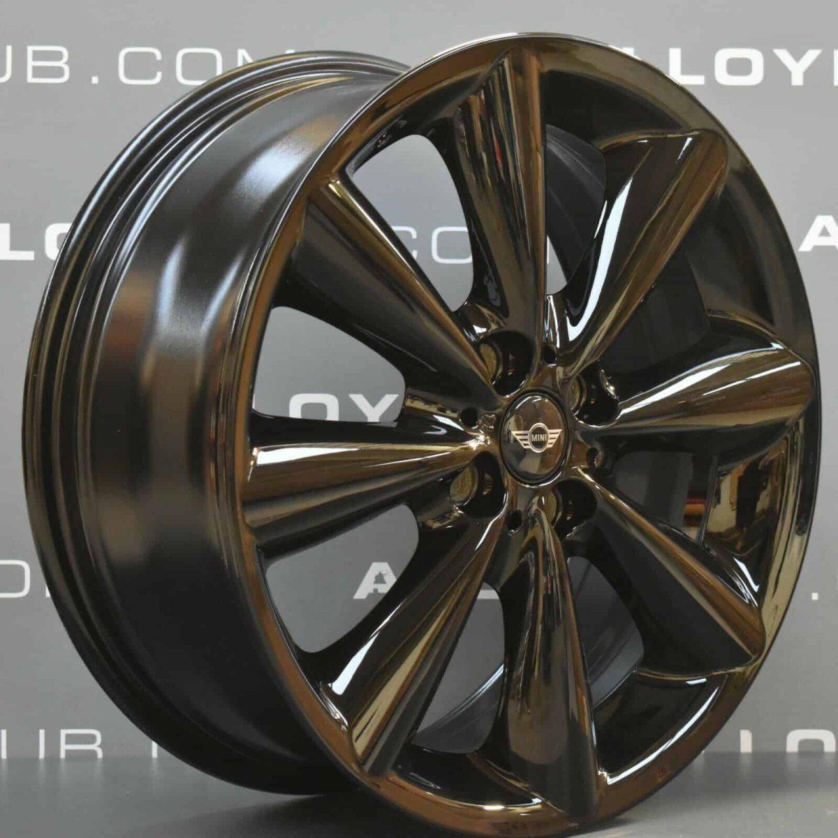 "Genuine Mini Cooper S R50 R53 R56 R121 Conical Spoke 17"" inch Alloy Wheels with Gloss Black Finish 36116791931"