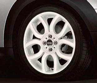 "Genuine Mini Cooper S R50 R53 R56 R97 Flame Spoke 17"" inch Alloy Wheels with White Finish 36116775801"
