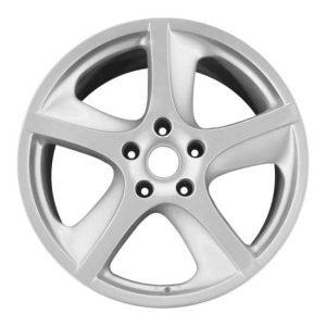 "Genuine Porsche Cayenne 955 957 Sport Techno 5 Twist Spoke 20"" inch Alloy Wheels with Silver Finish 955362140909A1 955362142009A1"